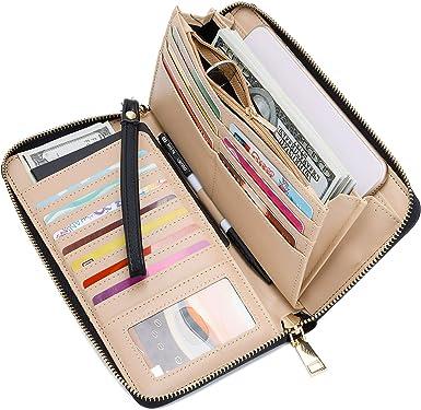 Grey Skull Womens RFID Blocking Zip Around Wallet Genuine Leather Clutch Long Card Holder Organizer Wallets Large Travel Purse