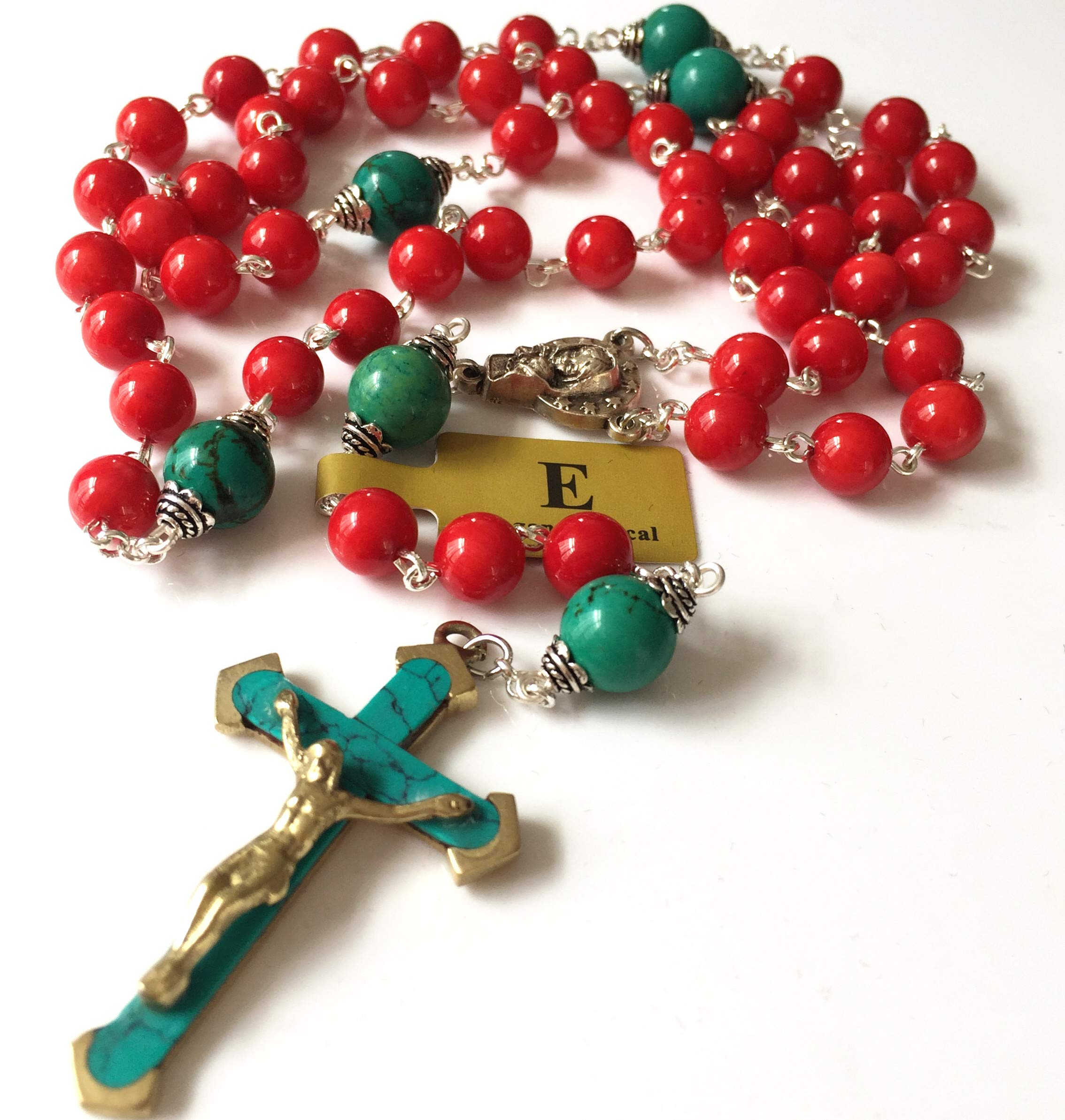 elegantmedical Handmade Turquoise & Red Coral Beads Rosary & Turquoise Cross Crucifix Necklace Catholic Gifts
