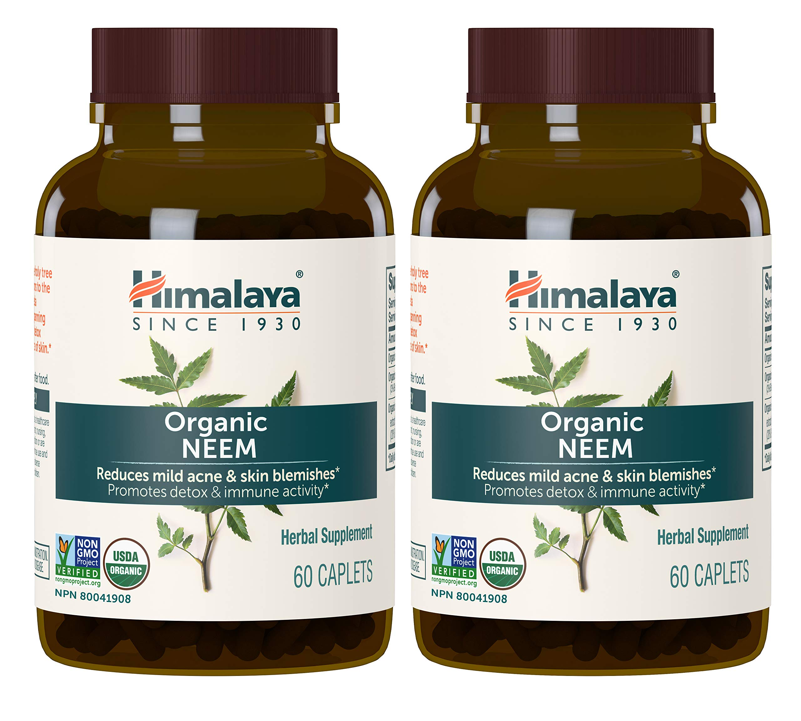 Himalaya Organic Neem, Mild Acne Relief for Clear, Smooth & Radiant Looking Skin, 600 mg, 60 Caplets, 4 Month Supply, 2 Pack