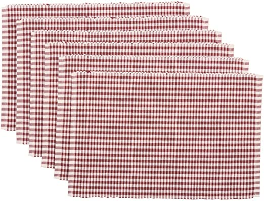 Country Colonial Blue Buffalo Check Placemat Set//2 Ribbed Cotton Farmhouse