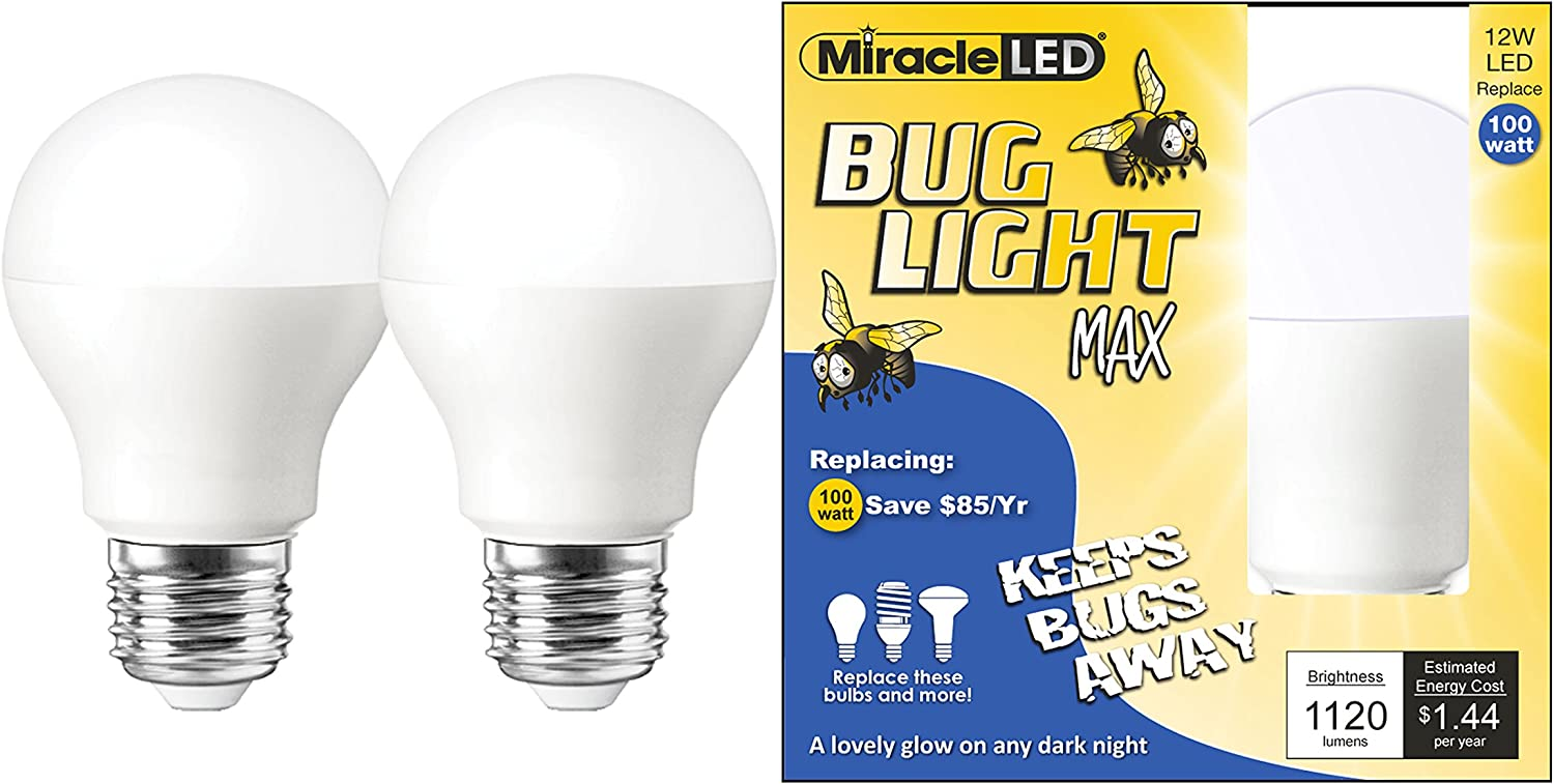 Miracle LED Yellow Bug Light MAX - Replaces 100W - A19 Outdoor Bulb for Porch and Patio - 48 Pack (604997)