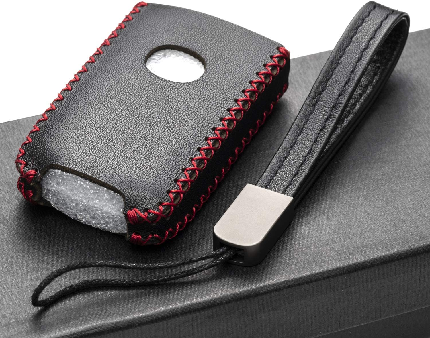CX-30 4-Button, Red Vitodeco Genuine Leather Smart Key Fob Case Cover Protector with Leather Key Holder for 2019-2020 Mazda 3 2020 Mazda CX-5 Mazda 3 Hatchback