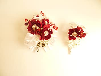 bridal shower corsage and boutineer doves with wedding bells themeburgundy