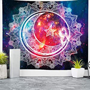 """Nidoul Bapple Psychedelic Tapestry Wall Hanging, Boho Mandala Tapestry, Celestial Starry Sky Wall Tapestry, Wall Art Decoration for Bedroom Living Room Dorm, Window Curtain Picnic Mat, 59"""" X 51"""""""