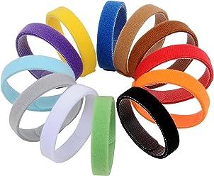 amathings 12 teiliges Welpenhalsband in weichem Klett in verschiedenen Längen S-XL 12 Farben Wiederverwendbar Beschriftbar Für Züchter Welpenhalsbänder