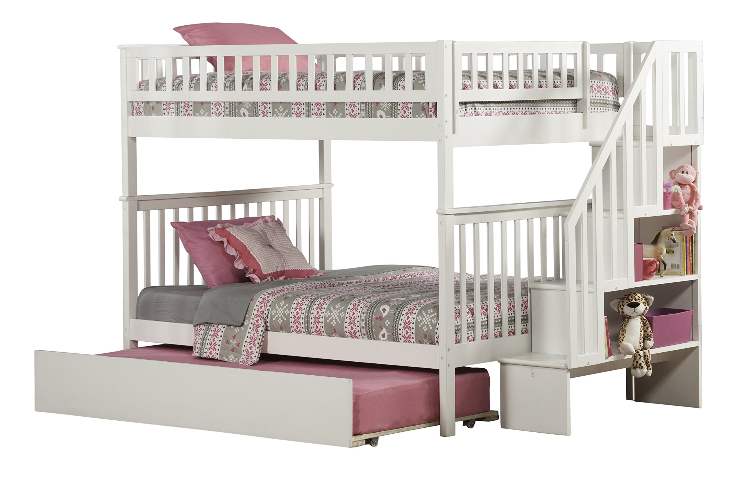 Woodland Staircase Bunk Bed with Urban Trundle, White, Full Over Full