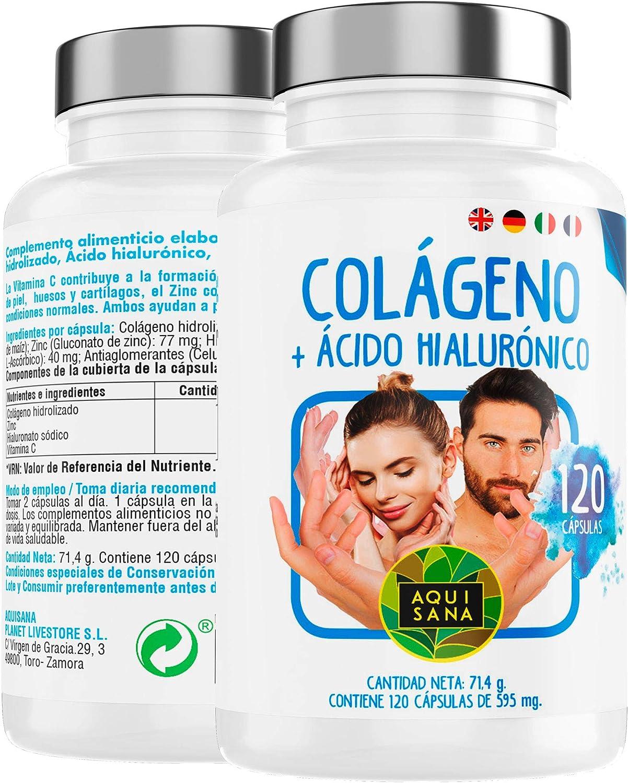 Colágeno + ácido hialurónico- Aquisana| Vitamina C| Zinc | piel ...