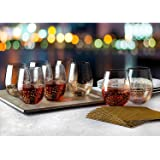 Shannon Crystal Gold Luxe Stemless Wine Goblets Set of 8