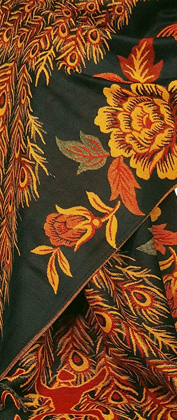 PCKPASH motif plumes de pao GFM /Écharpe de style pashmina