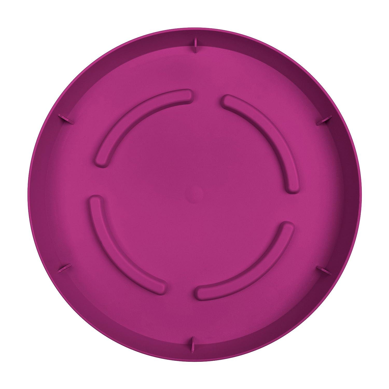 Plato para maceta color rosa Emsa 514342 City Curve 19 cm, polipropileno