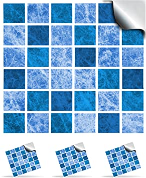 30 Oceana Self Adhesive Mosaic Wall Tile Decals For 150mm 6
