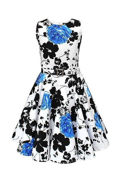 BlackButterfly Niñas Audrey Vestido Vintage Años 50 Serenity (Blanco y Azul, 3