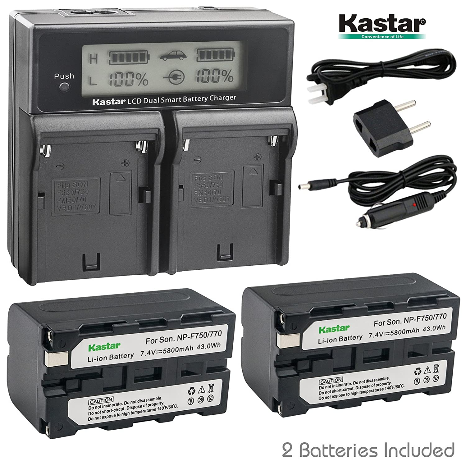Kastar LCD Dual Smart Fast Charger /& 2 x Battery for Sony NP-F770 NP-F750 and CCD-RV100 CCD-RV200 CCD-SC9 CCD-TR1 CCD-TR940 CCD-TR917 Camera CN-126 CN-160 CN-216 CN-304 YN 300 VL600 LED Video Light