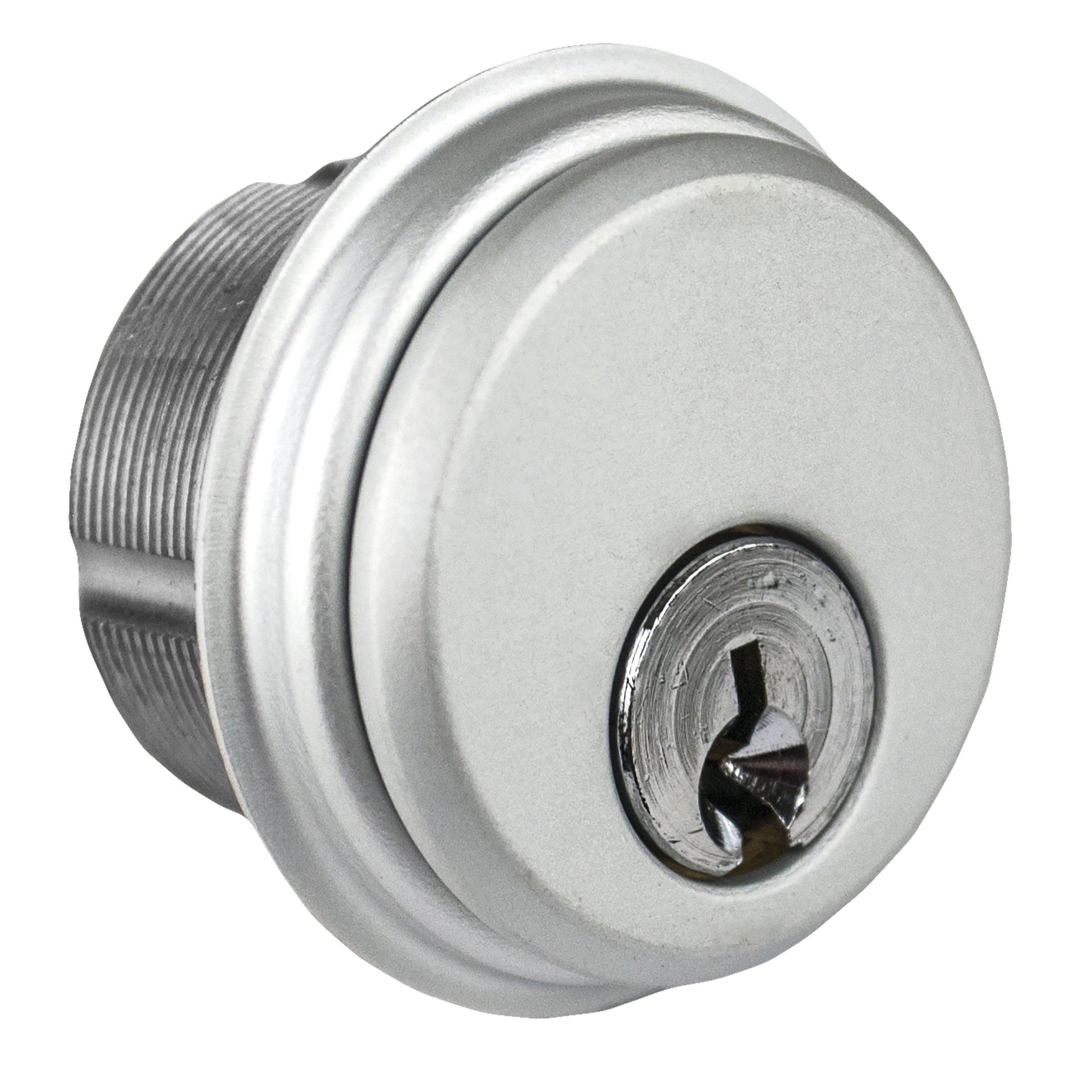 Global Door Controls Single Zinc Mortise Cylinder in Aluminum