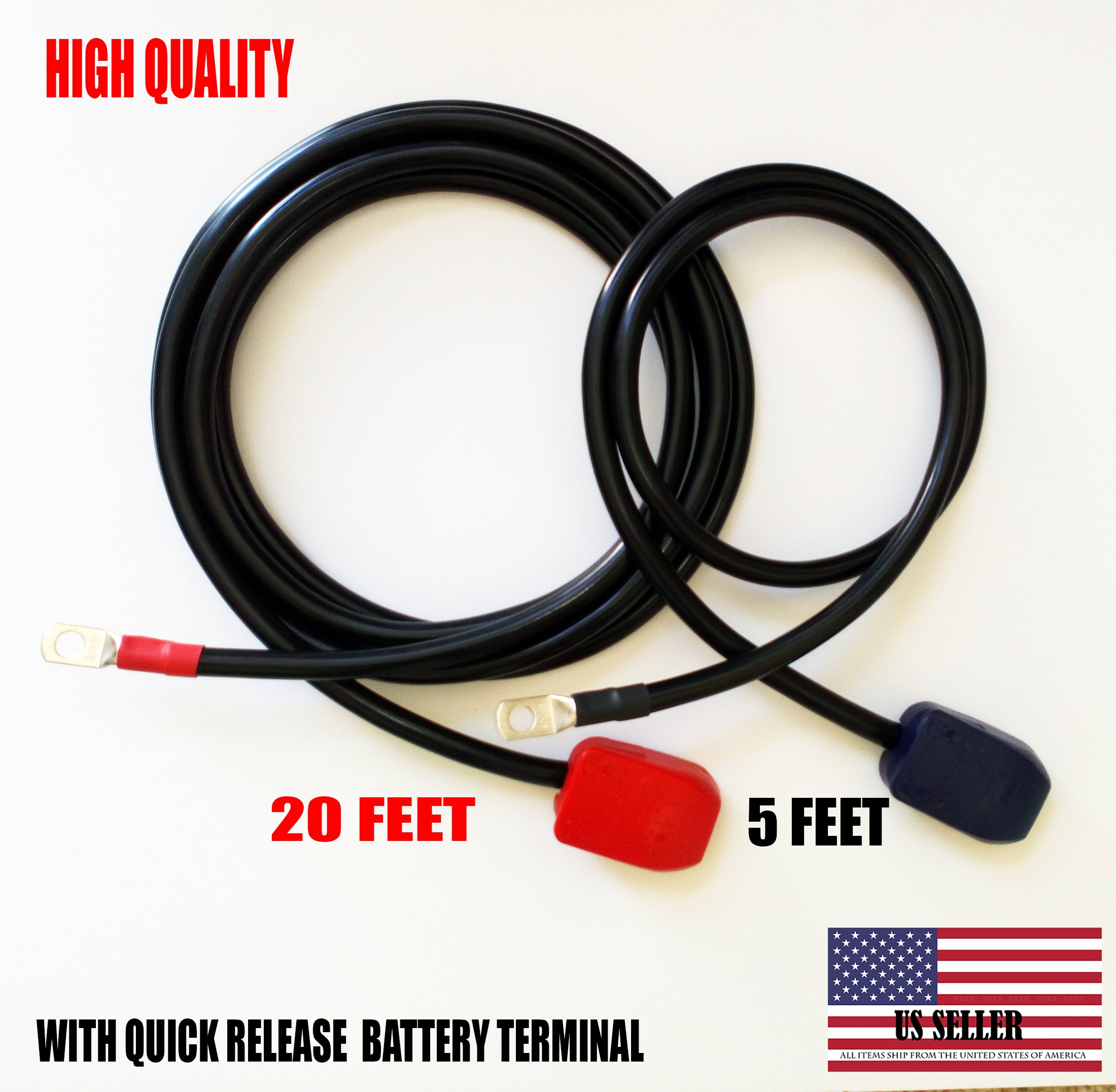 Battery Relocation Kit, 2 AWG Cable, Top Post 20 FT (+) / 5 FT(-) by Paka Hand Tools