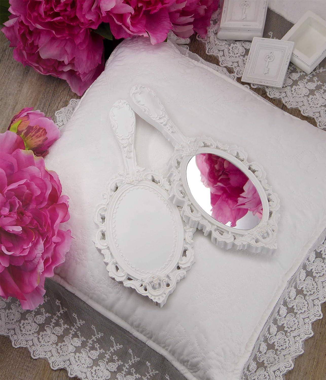 Specchio a Mano Shabby Chic con Fregi Colore Bianco Anticato 13x27