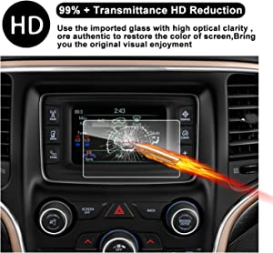 2014-2018 Grand Cherokee Uconnect Touch Screen Car Display Navigation Screen Protector, RUIYA HD Clear Tempered Glass Car in-Dash Screen Protective Film (5-Inch)