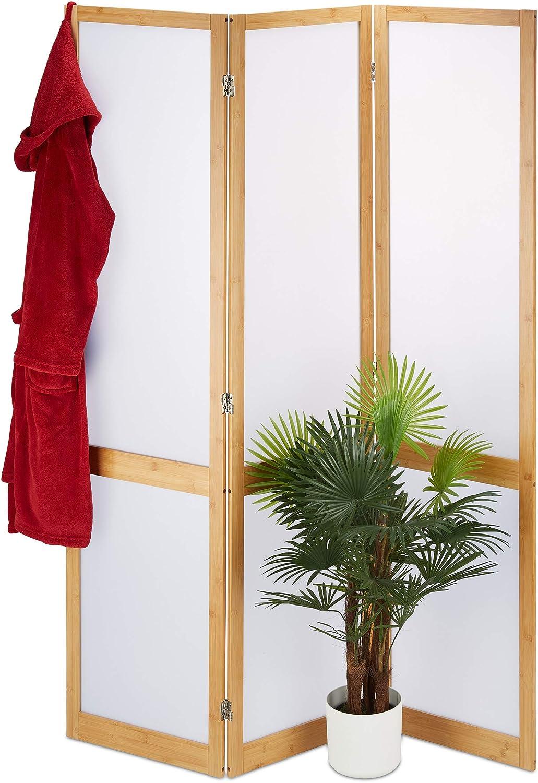 Relaxdays Biombo de 3 Paneles, Separador Ambientes, Parabán Decorativo, Bambú y Plástico, 1 Ud, 180x135x1,5 cm, Marrón
