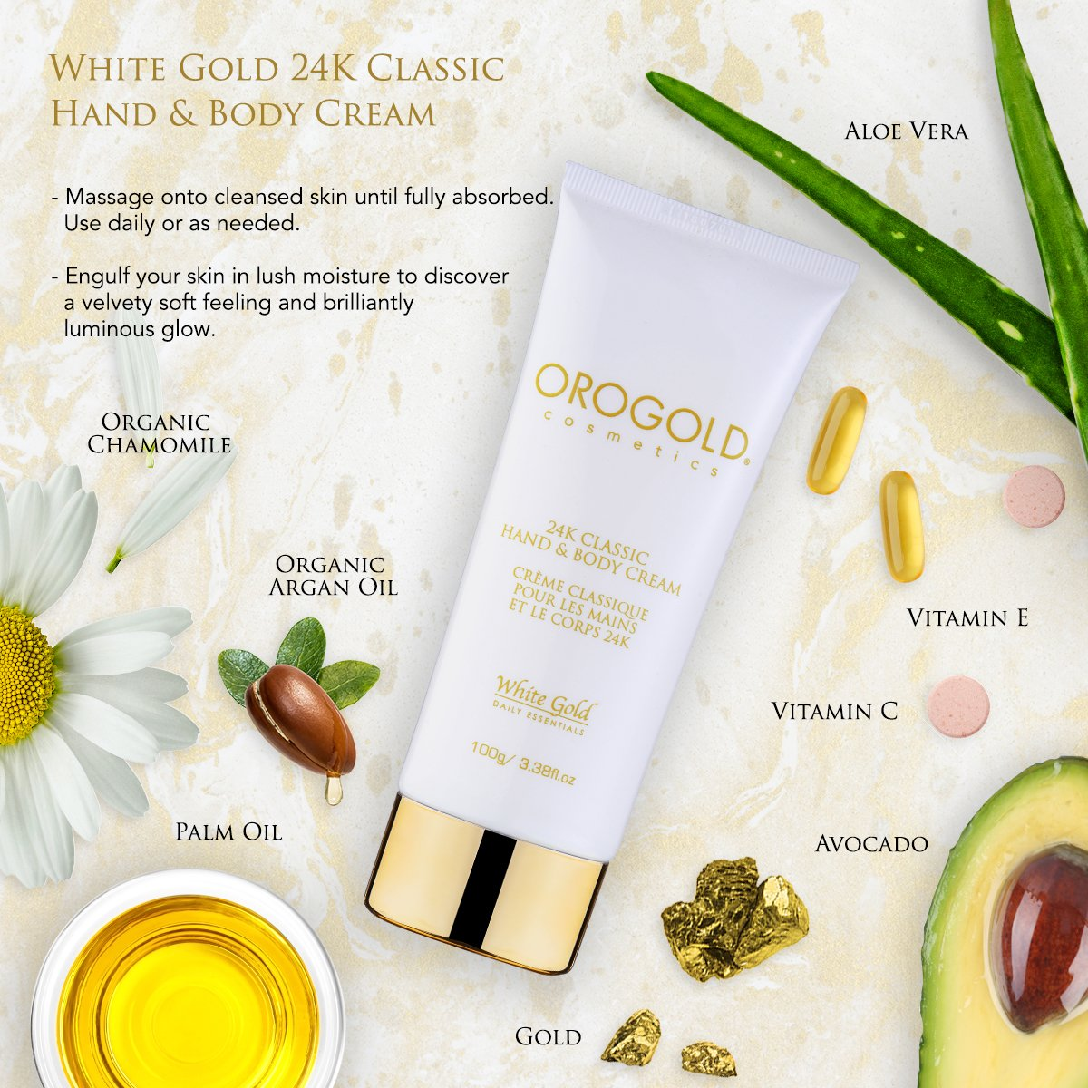 White Gold 24K Hand and Body Cream from OROGOLD Cosmetics – 100 ml, 3.38 fl. oz.