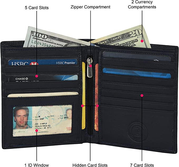 Men's Bi-fold Textured Leather Credit//ID Card Note Holder Money Wallet