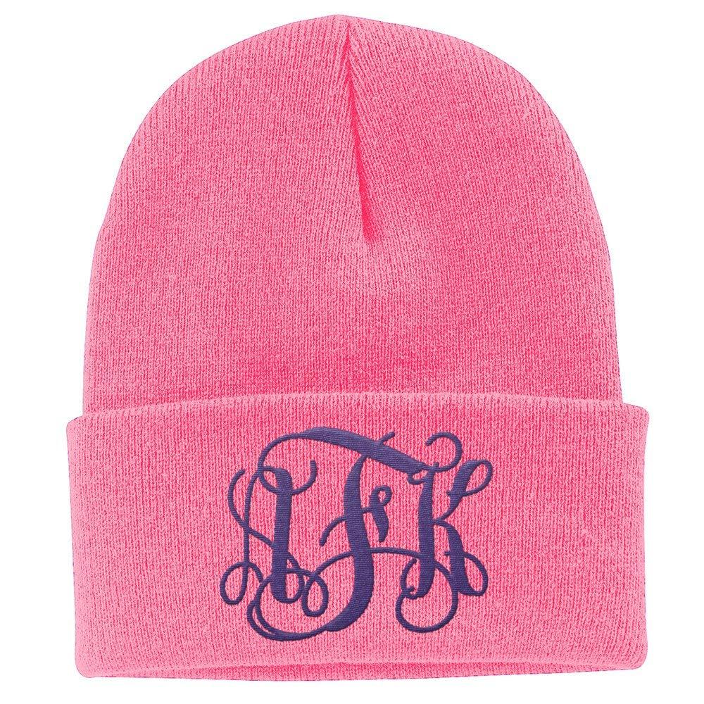 26e267a8ac Amazon.com  Custom Monogram Beanie Knit Hat