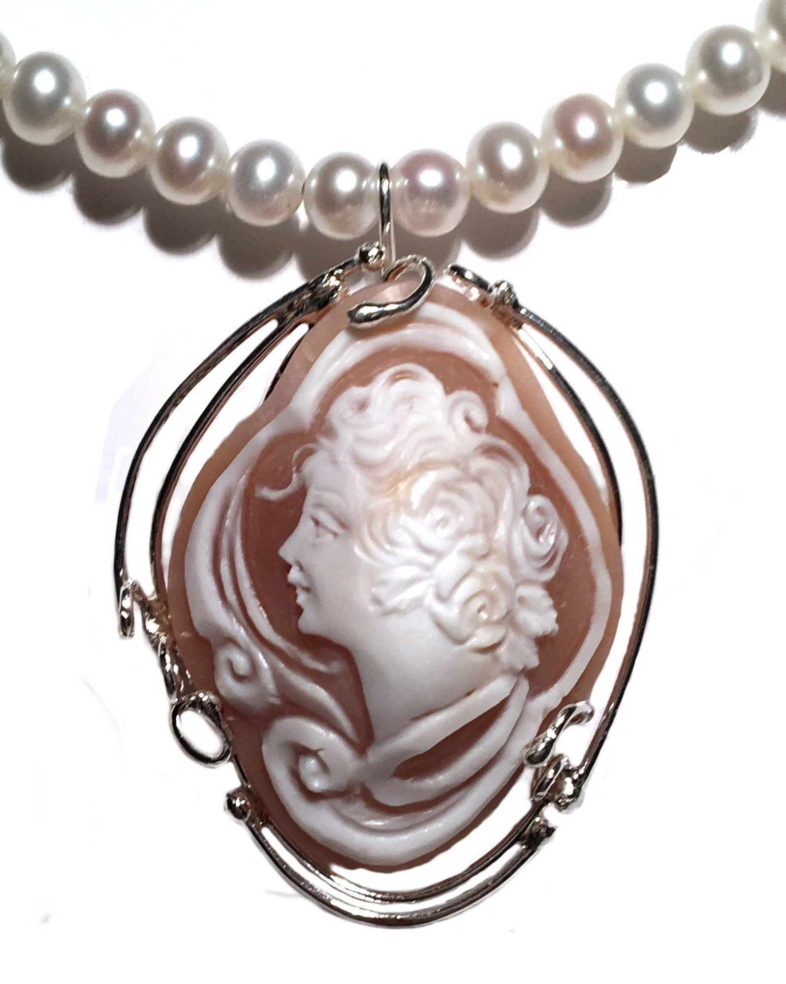 Cameo Brooch Pendant Enhancer Master Carved, Conch Shell Italian Sterling Silver Summer Dream by cameosRus (Image #7)