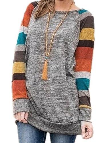 Elevesee Camisetas de manga larga Vestido suelto Sweater Tunic Blusa Camisa de manga larga Colorful ...