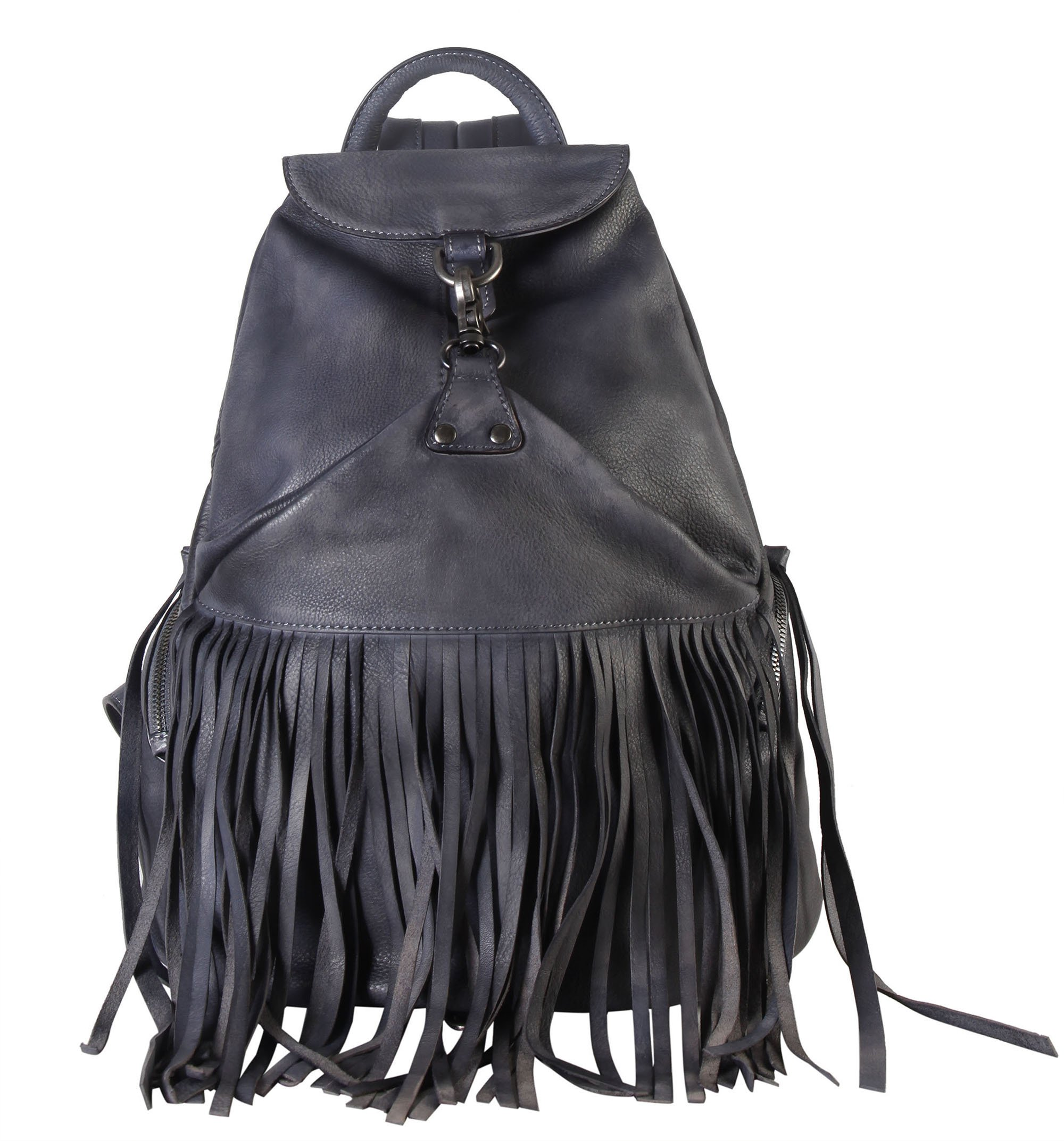 Diophy Genuine Leather Fringe Style Back Pack Womens Purse Handbag Accented with Zippered Pockets on Both Side 150300 (Grey) by Diophy