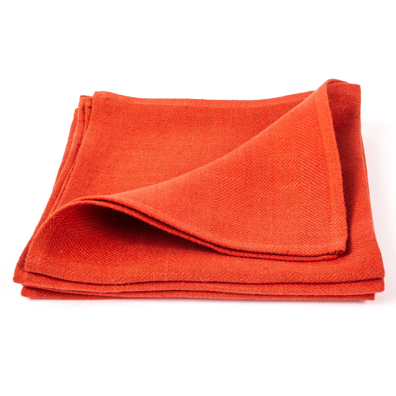 LinenMe Linen Lara Napkins (Set of 4), 21'' x 21'', Orange