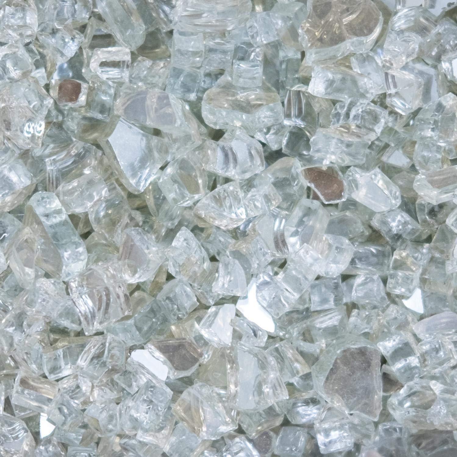 Lakeview Outdoor Designs 1/4-Inch Ice Clear Reflective Fire Glass - 70 Pounds