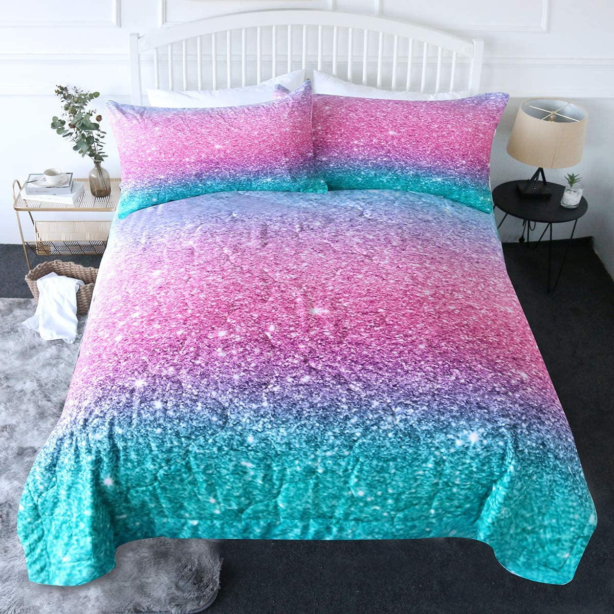 blessliving 3 piece comforter set 3d printed pink glitter bedding set with pillow shams girls women reversible comforter twin size bedding sets