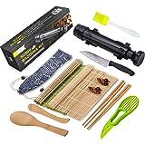 Sushi Making Kit, All In One Sushi Bazooka Maker with Bamboo Mats, Bamboo Chopsticks, Avocado Slicer, Paddle, Spreader, Sushi