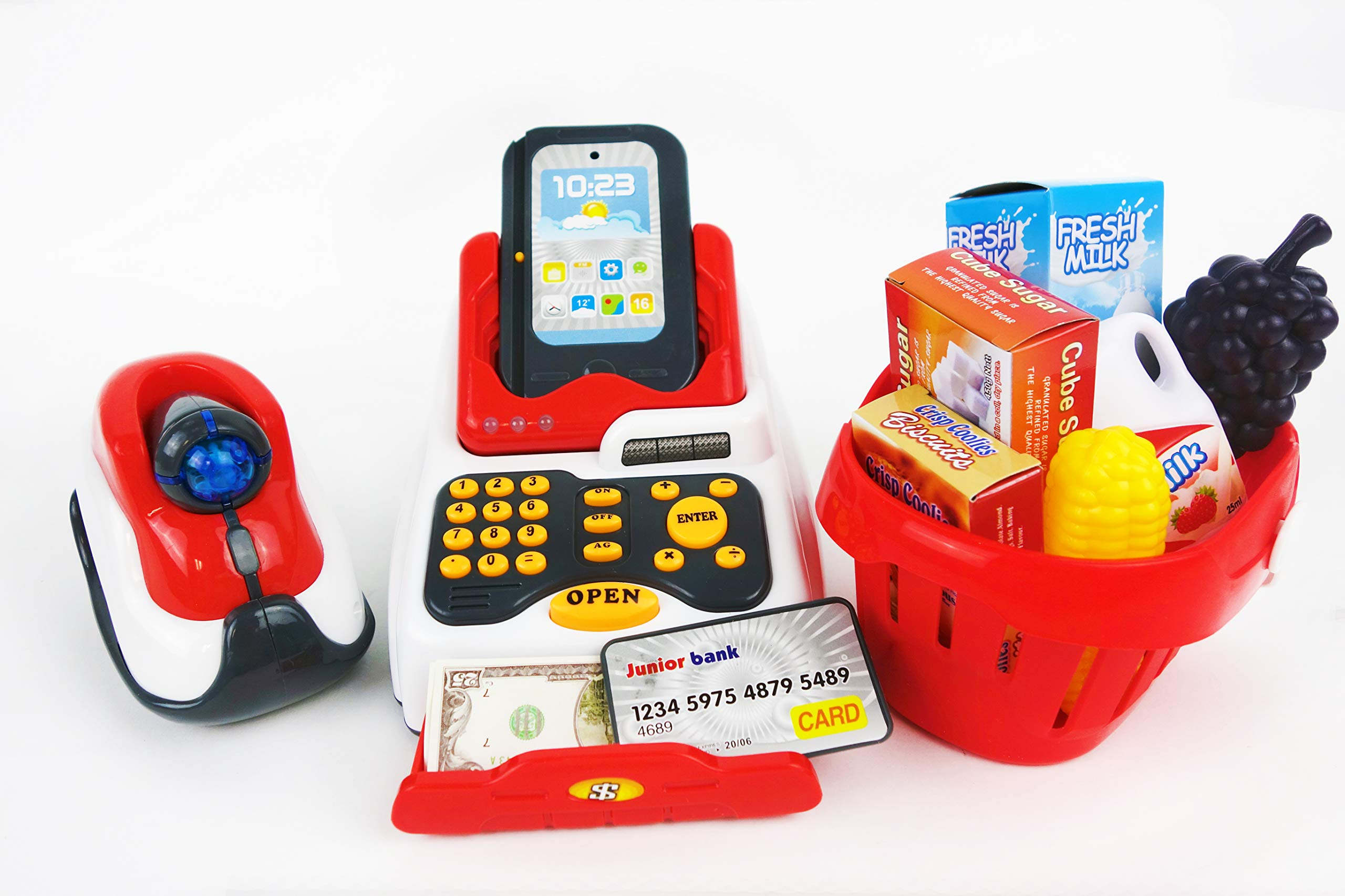 NBD Corp Toy Cash Register with Lights, Sound, Play Money and More, 18 Pieces by NBD Corp