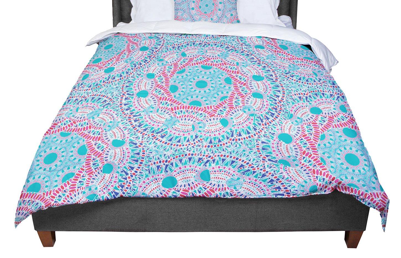 68 X 88 KESS InHouse Miranda Mol Prismatic White Blue Pink Abstract Twin Comforter