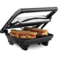 """Hamilton Beach Electric Panini Press Grill with Locking Lid, Opens 180 Degrees for Any Sandwich Thickness (25460A) Nonstick 8"""" x 10"""" Grids Chrome Finish"""