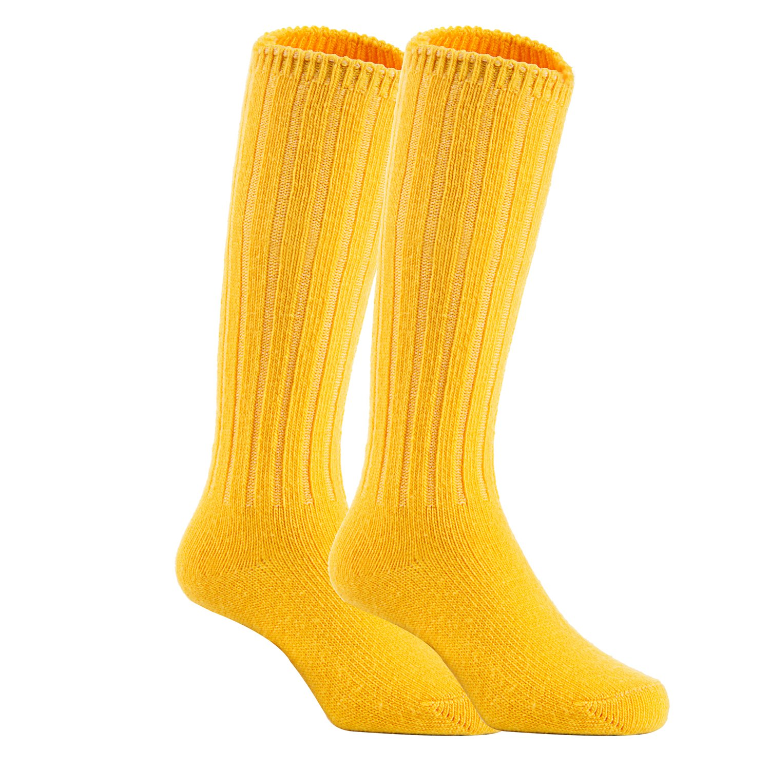 Lian LifeStyle Unisex Baby Children 2 Pairs Knee High Wool Blend Boot Socks Size 2-4Y (Yellow)