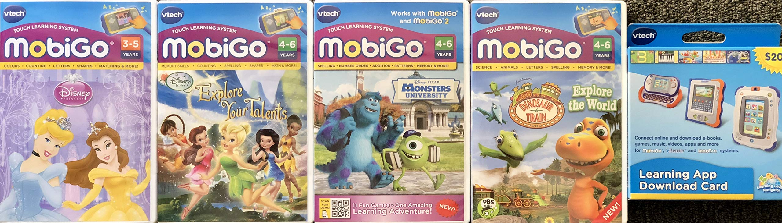 MobiGo Vtech Touch Learning System Bundle Includes: 4X Games - Disney Fairies, Disney Princess, Dinosaur Train, Monsters University & $20 Download Card (Bundle One) by MobiGo (Image #1)