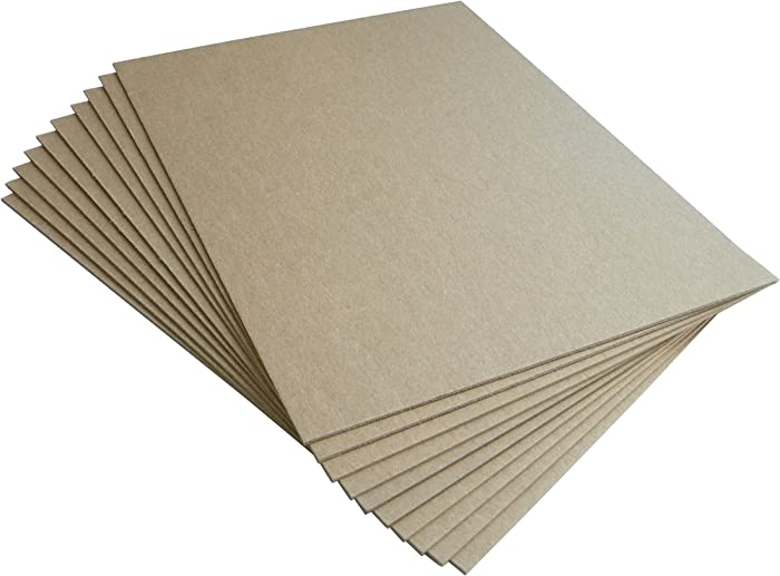 Chipboard Sheets 8.5 x 11 Inch - Medium Heavy Weight 50 Point - Pack of 10 Chipboards with Other Quantities Available, Made in USA, Brown Kraft Chip Board Pads by Things Improved