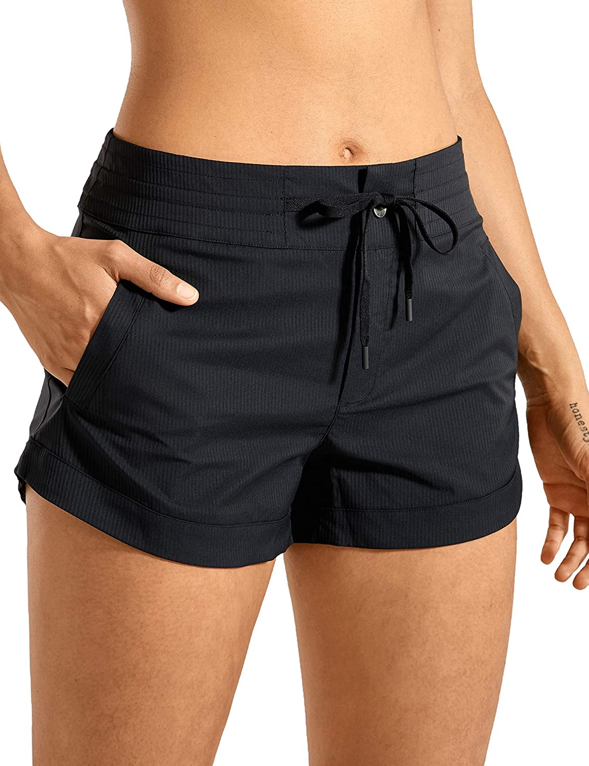CRZ YOGA Women Go to Studio Casual Shorts Woven Stripe Relaxed Fit Shorts-3 inches