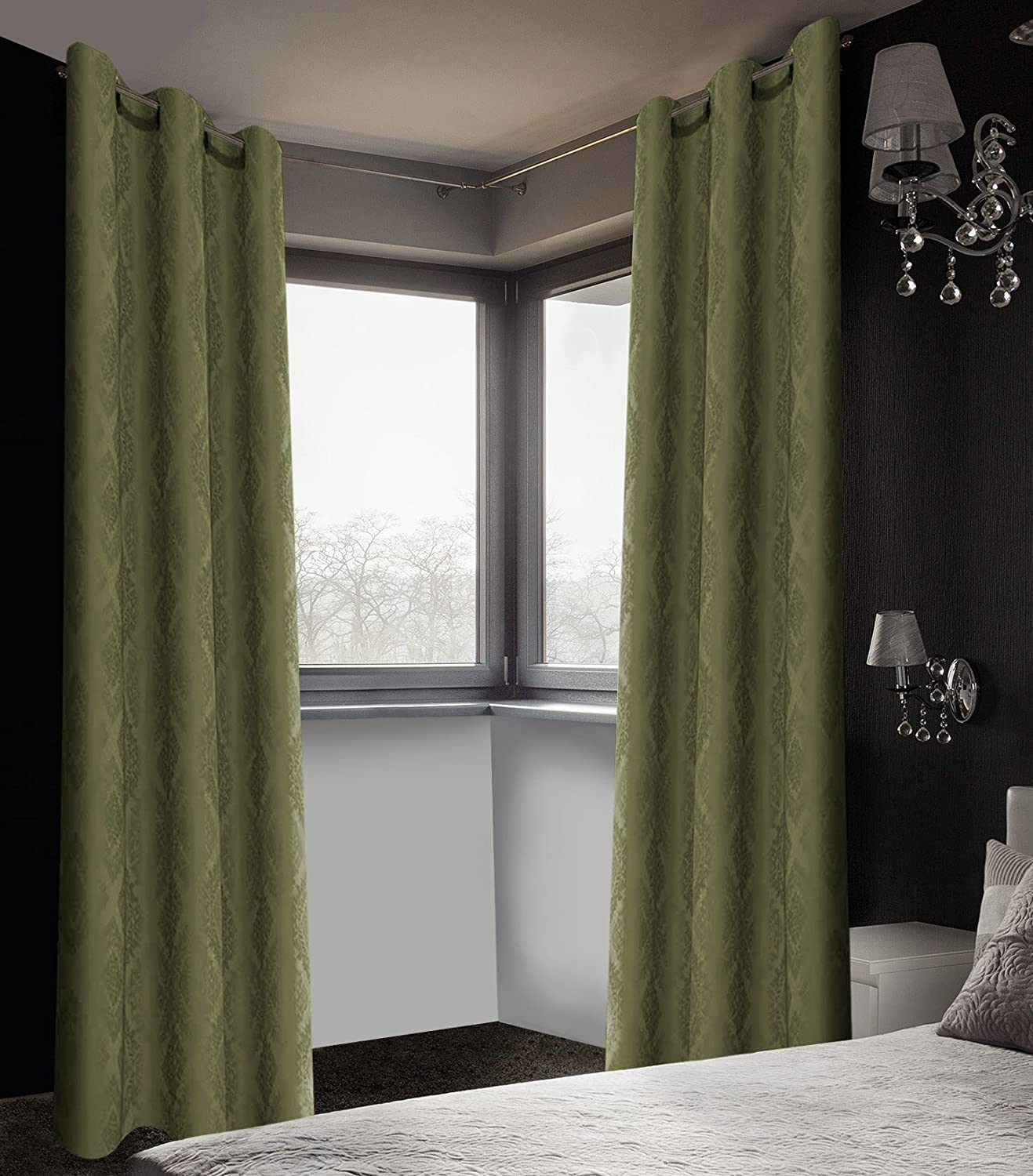 Buy Safdie & Co. Fern Green 2 PCS Set Curtain Panel Brocade Blackout 84L, 2  Piece Online at Low Prices in India - Amazon.in