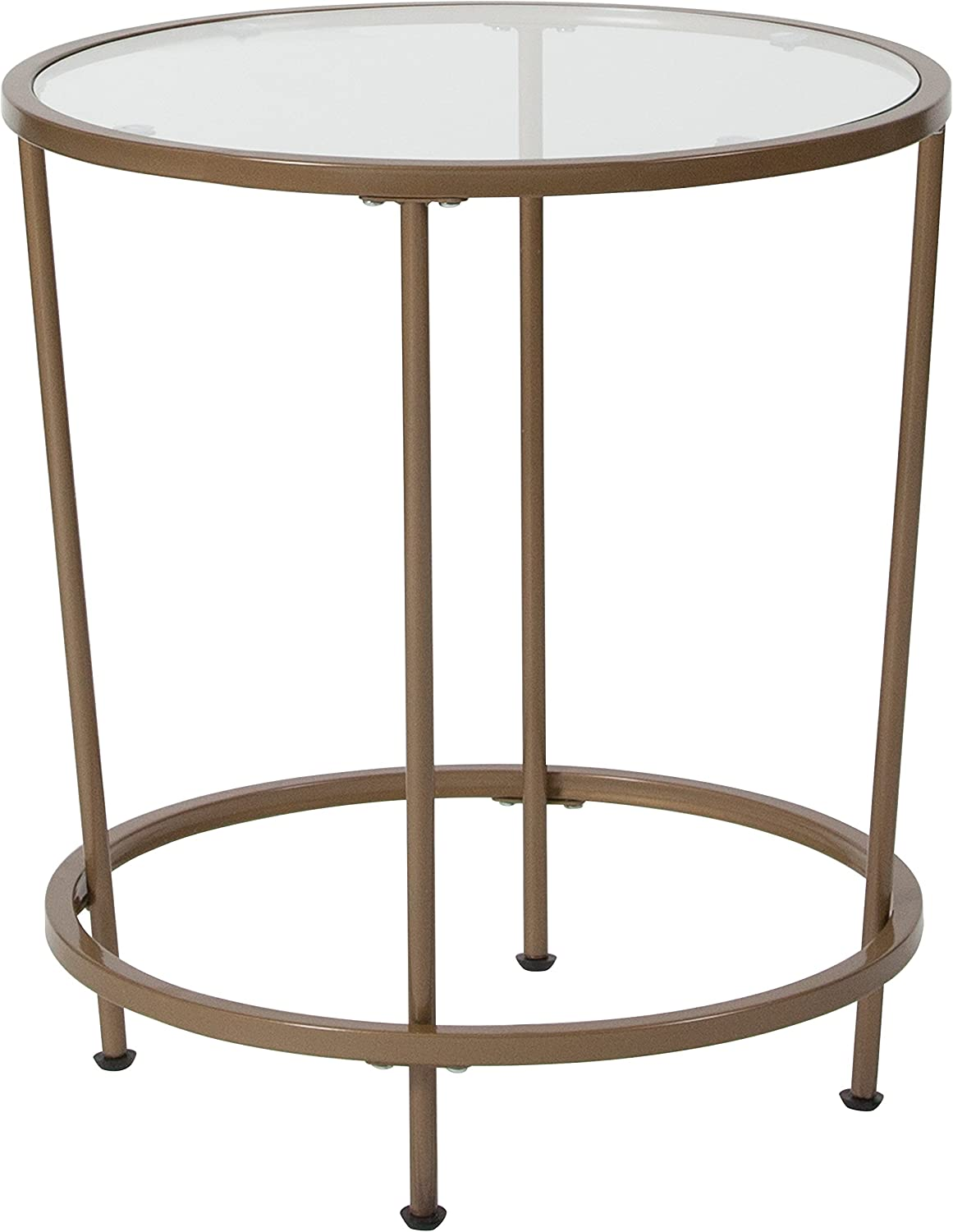 Flash Furniture Astoria Collection Glass End Table with Matte Gold Frame