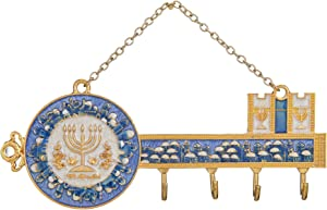 Matashi Hand-Painted Blue Enamel Menorah and Jerusalem Cityscape Design Decorative Hanging Wall Hooks for Entryway Hallway Bedroom Kitchen and Home Decor Great Housewarming Present