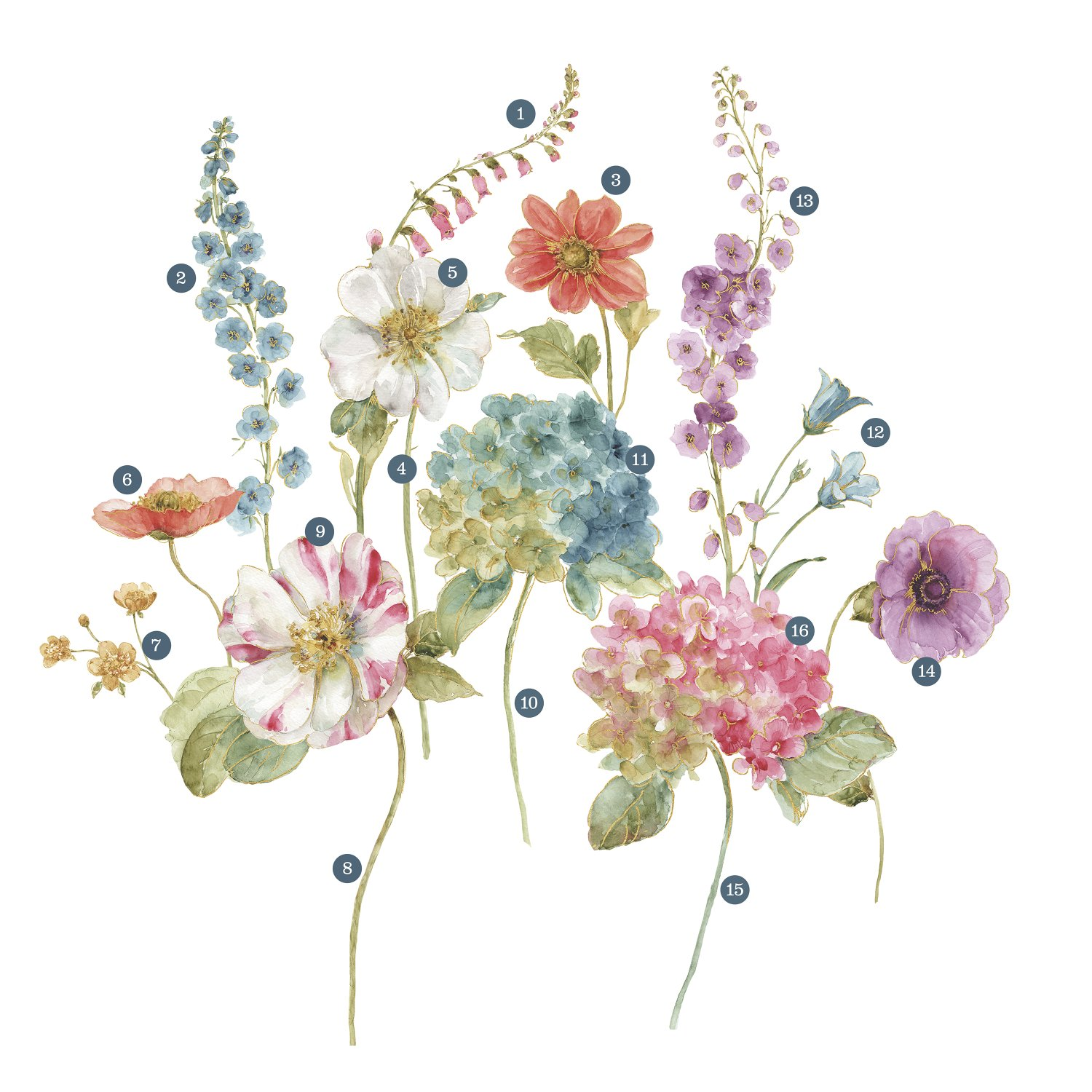 RoomMates Lisa Audit Garden Flowers Peel And Stick Giant Wall Decals by RoomMates (Image #2)