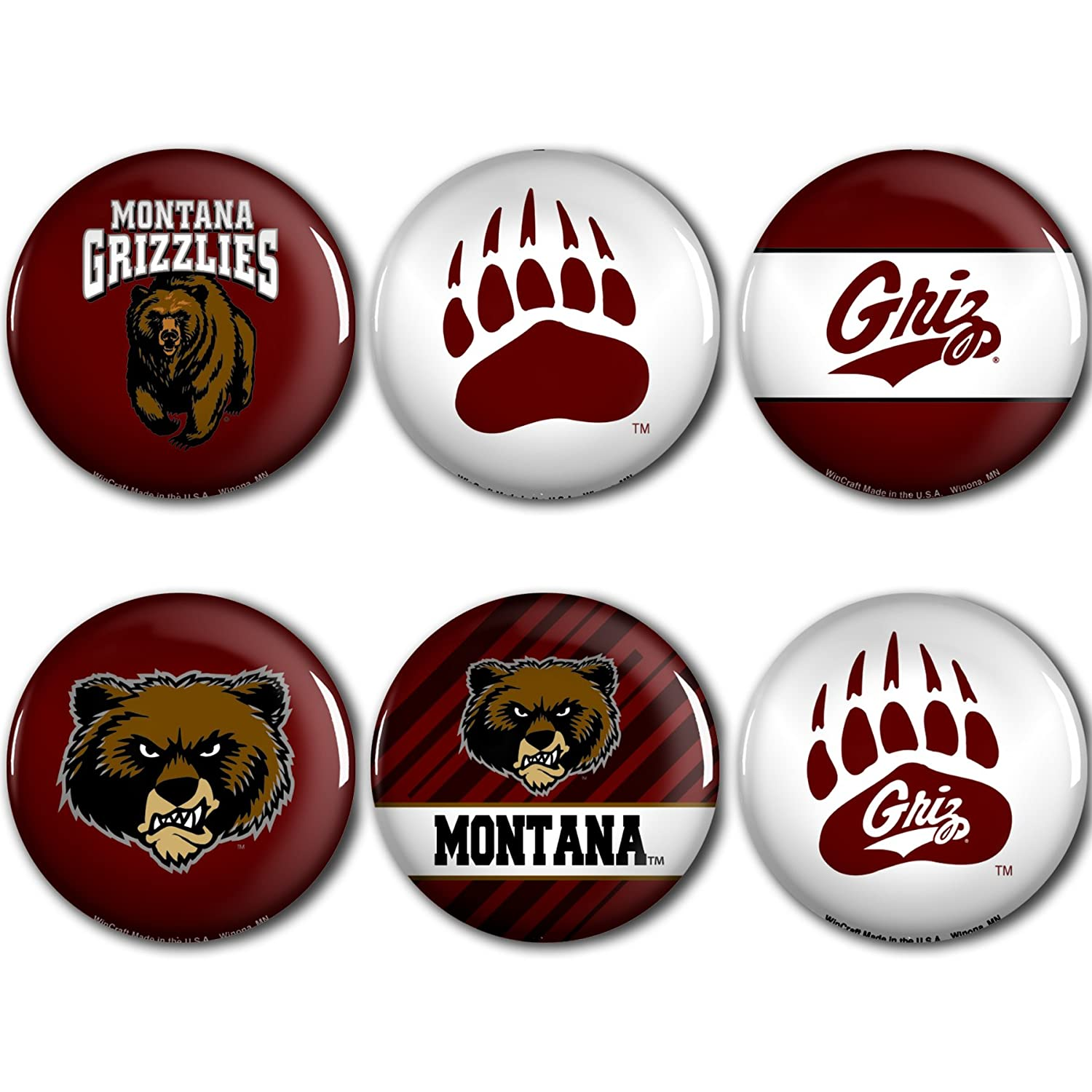 WinCraft Montana Grizzlies Official NCAA Metal Button Badge Pin Set 6 Pack 991232