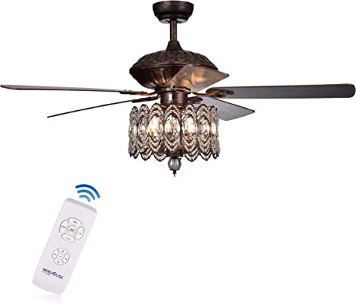 Warehouse of Tiffany CFL-8324REMO RB Copper Grove Dejes 52-in. Rustic Bronze Chandelier Crystal Shade Ceiling Fan, Brown