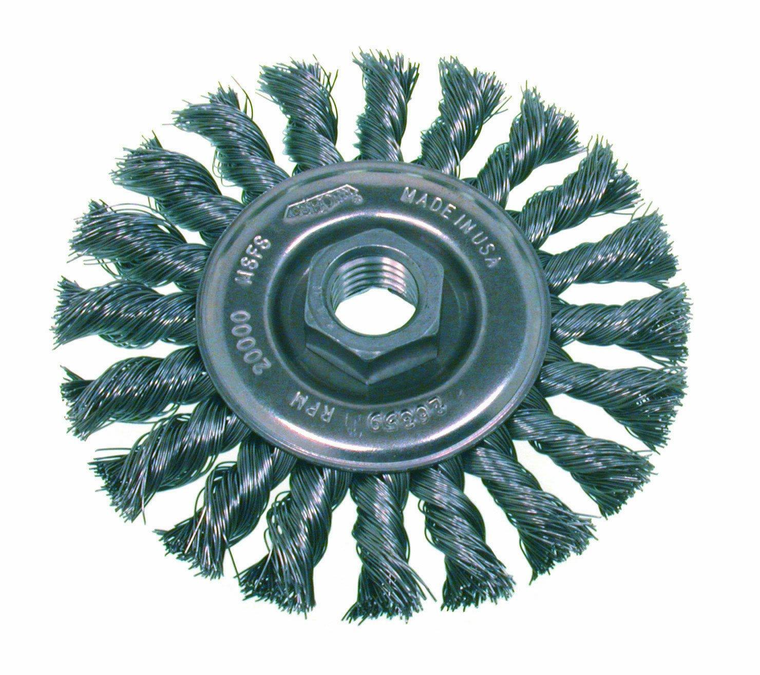Osborn 26376 High Speed Small Grinder Standard Twist Knot Wire Wheel Brush, Stainless Steel Bristle, 20000 RPM, 4'' Diameter, 0.014'' Fill Diameter