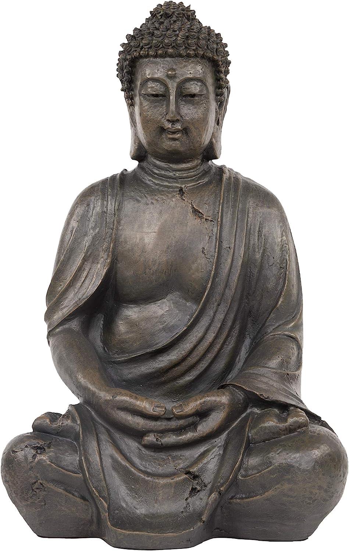 Amazon Com Alpine Corporation Gem170 Alpine 15 Tall Indoor Outdoor Meditating Statuary Decor Buddha Statue One Size Gray Garden Outdoor