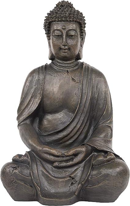 STONE GARDEN LARGE MEDITATING BUDDHA STATUE ON PLINTH PEDESTAL ORNAMENT