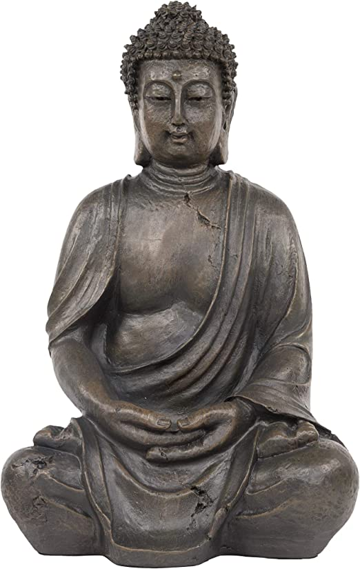 Amazon Com Alpine Corporation Gem170 Alpine 15 Tall Indoor Outdoor Meditating Statuary Décor Buddha Statue One Size Gray Garden Outdoor