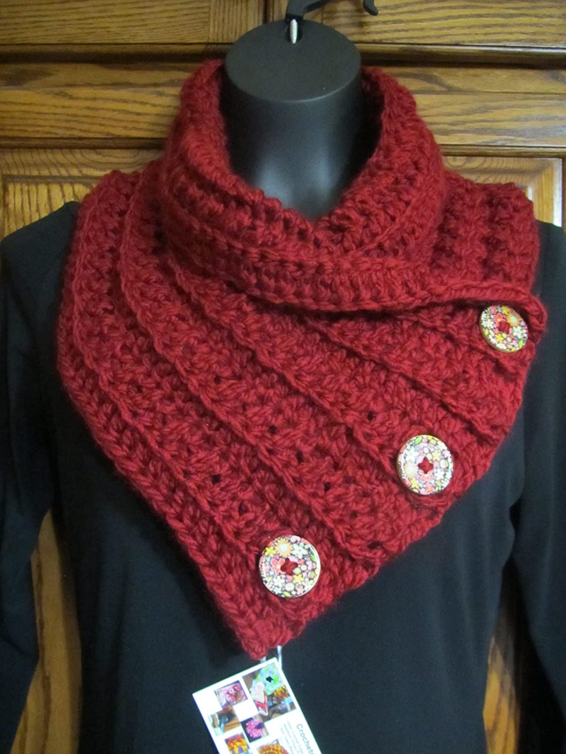 Cranberry Red Maroon Crocheted Chunky weight Ribbed scarf w/ 3 Wood buttons